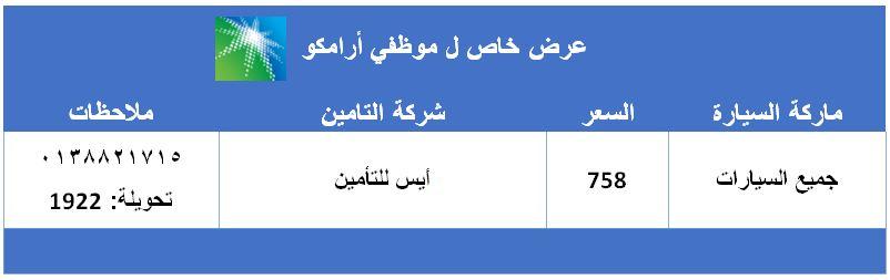 عرض خاص لموظفي أرامكو السعودية لتأمين المركبات ضد الغير في شركة أيس للتأمين